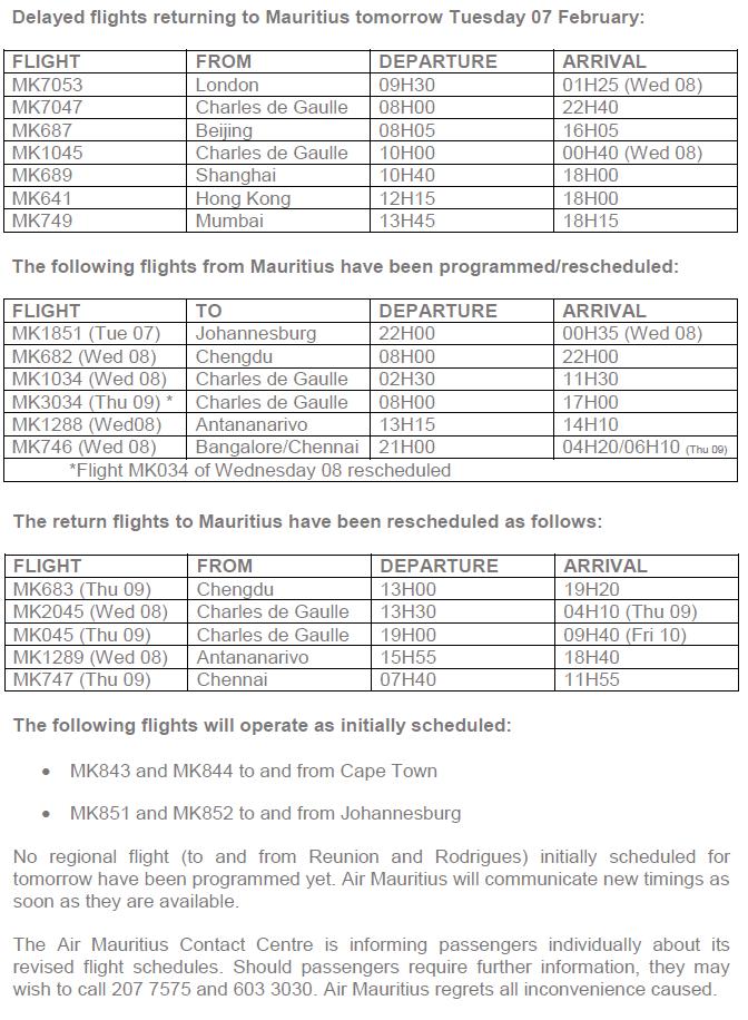 Tempête Carlos : Air Mauritius reprogramme ses vols les 7 et 8 février 2017