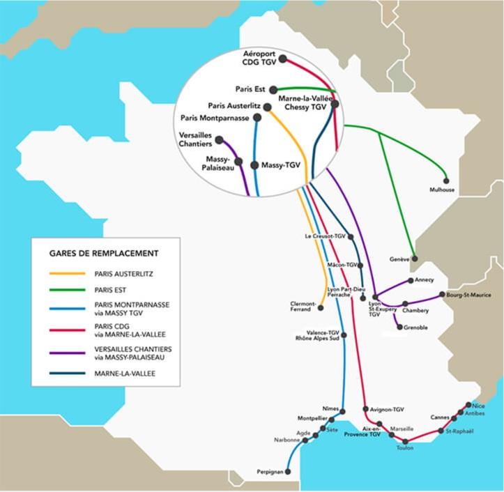 La carte de la SNCF indiquant les modifications de gares en région parisienne - DR SNCF