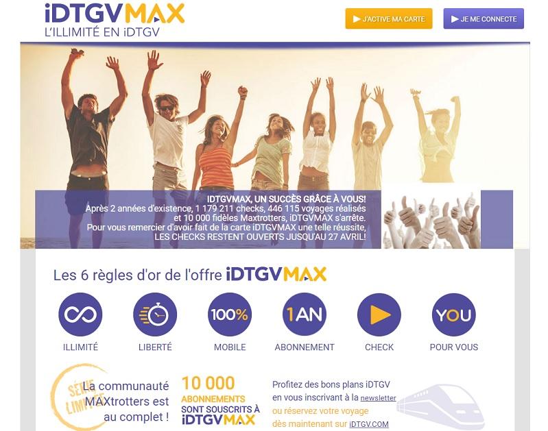 Alors que la SNCF avait annoncé cette offre super à grands renforts de communication, de trompettes et autres fanfaronnades, l'annulation du programme s'est effectuée dans la plus parfaite confidentialité... - DR : Capture d'écran iDTGV Max