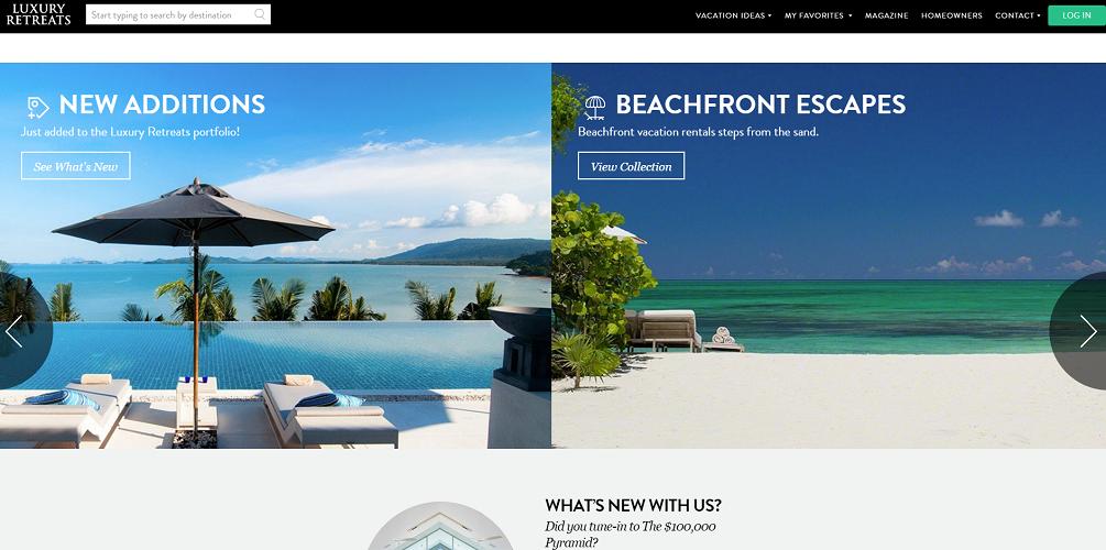 Luxury Retreats est repris par Airbnb - Capture d'écran