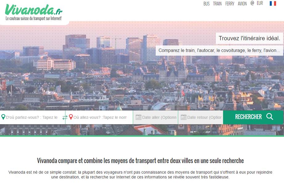 Vivanoda recherche, grâce à un algorithme, des itinéraires parmi des milliers de lignes aériennes, ferroviaires, maritimes, lignes de bus longue distance ou régionales ou encore des offres de covoiturage - Capture d'écran Vivanoda