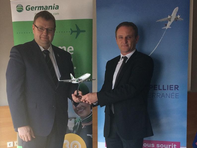 Claus Altenburg, directeur commercial de Germania et Emmanuel Brehmer, président du directoire de Aéroport Montpellier Méditerranée - DR : AMM