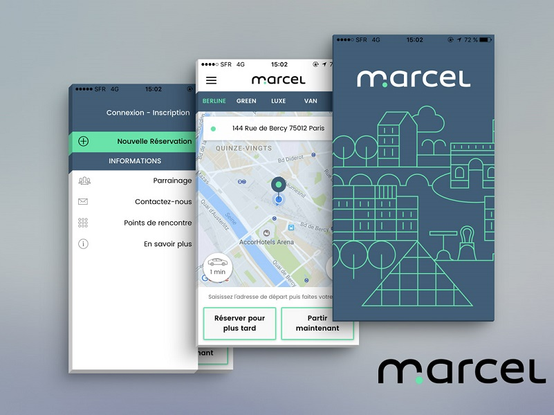 Marcel est une plateforme proposant la réservation de voitures avec chauffeurs privés de VTC en Ile-de-France - DR : Marcel