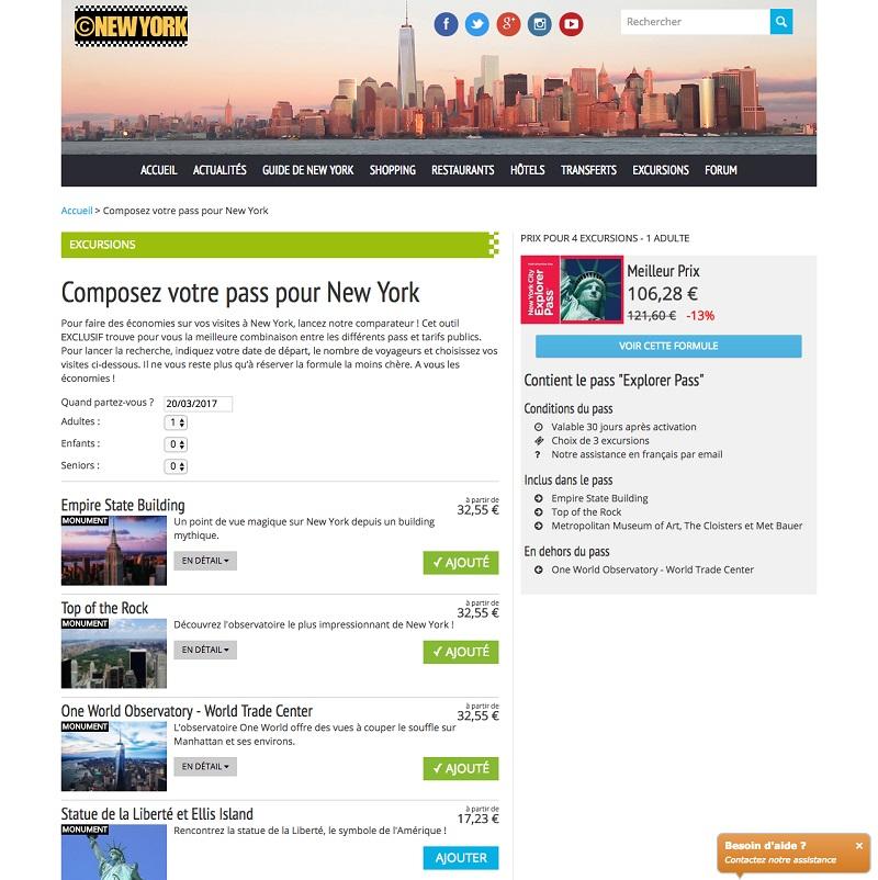 Le comparateur de cnewyork permet de trouver l'offre de pass touristique la moins chère pour visiter New York - Capture d'écran