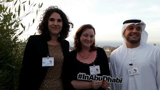 Autour de Sophie Salcedo, directrice de l'Office de Tourisme d'Abu Dhabi pour la France, Belgique et Suisse francophone, Alice Kabanoff (PR & media) et Nabeel Faris (TCA). Ici, en amont d'un workshop qui a réuni, ce 14 mars 2017, une centaine de chefs de produits et responsables d'agences à la « Terrasse Kardinal » qui domine les toits de Paris - Photo : M.S.