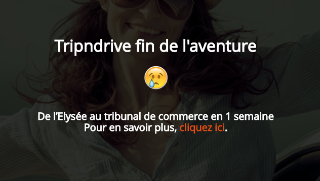 Tripndrive annonce la fin de ses activités sur son site Internet - Capture d'écran