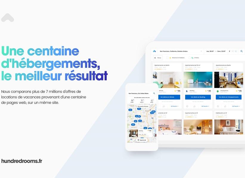 La plateforme est dotée d'un algorithme permettant aux utilisateurs de consulter et de comparer en une recherche les prix des logements de la plupart des sites de location saisonnière.(c) HundredRooms
