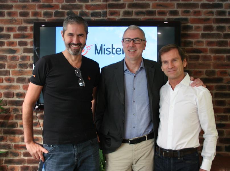 Carlos Da Silva, Emmanuel Bourgeat et Nicolas Brumelot dans les locaux de Misterfly ce jeudi matin (c) J.G