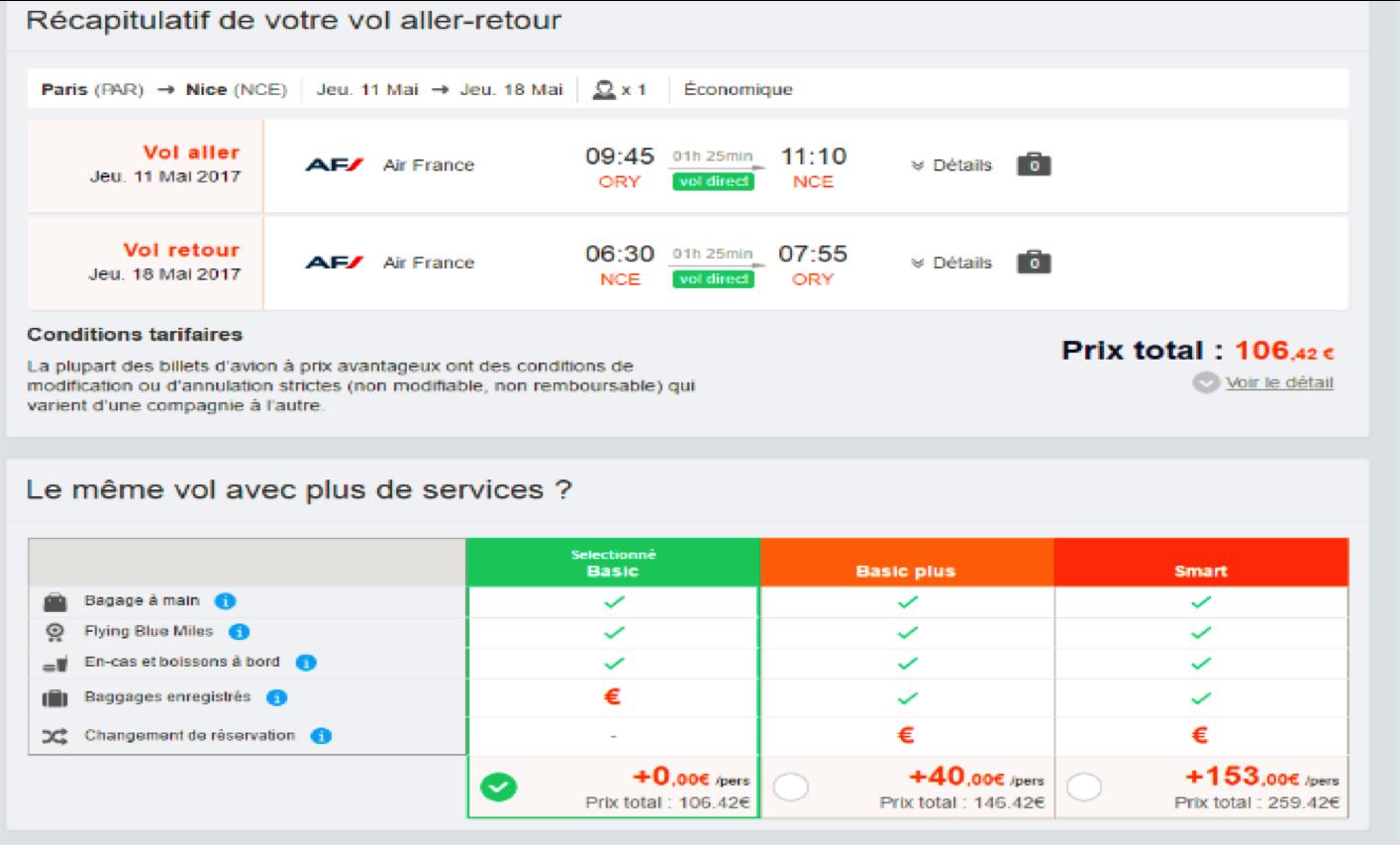 L'exemple d'Air France où les nouvelles offres tarifaires sont accessibles sur l'espace pro de MisterFly (c) Capture MisterFly