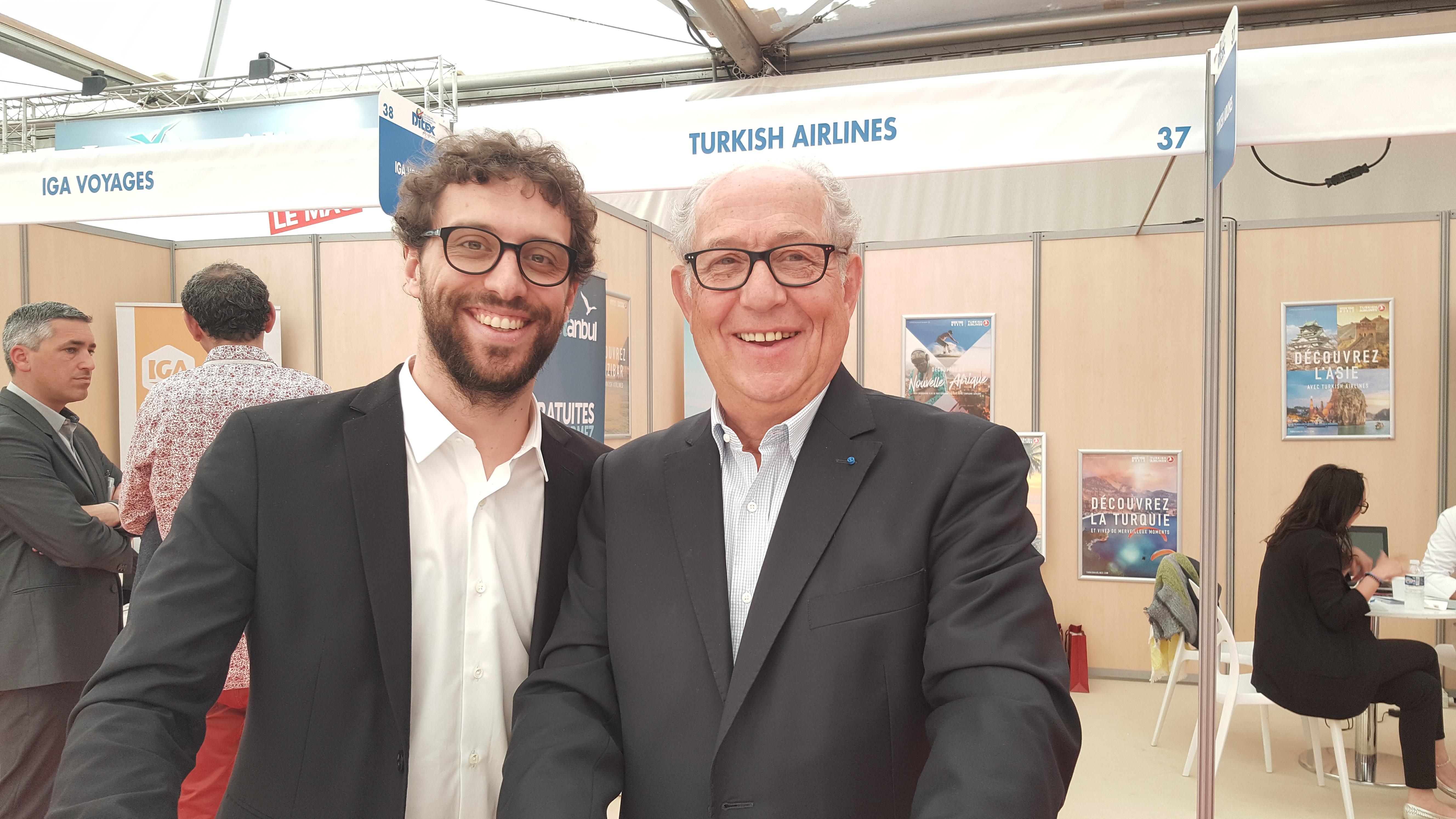 Jean-François Alexandre à droite avec son fils lors de l'édition 2017 du Salon du Ditex - Photo AB