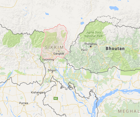 Visa en Inde : autorisation pour le Sikkim devient payante - Capture Google Map