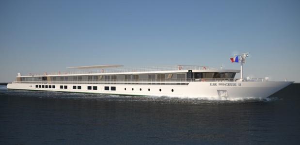 Le MS Elbe Princesse II pourra accueillir 90 passagers dans ses 45 cabines. Il sera livré début 2018. - DR : CroisiEurope