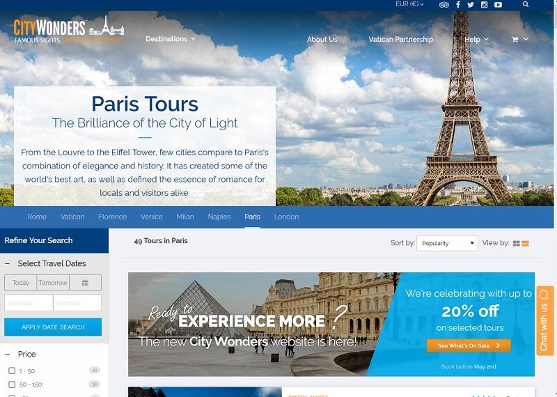 City Wonders est une entreprise irlandaise qui emploie des guides auto-entrepreneurs en France, en Italie et en Angleterre - Capture écran