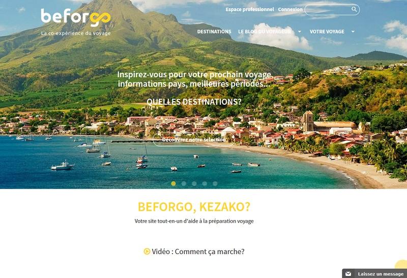 Beforgo veut à la fois séduire les voyageurs et devenir un nouveau canal de distribution pour les agences de voyages - Capture écran Beforgo