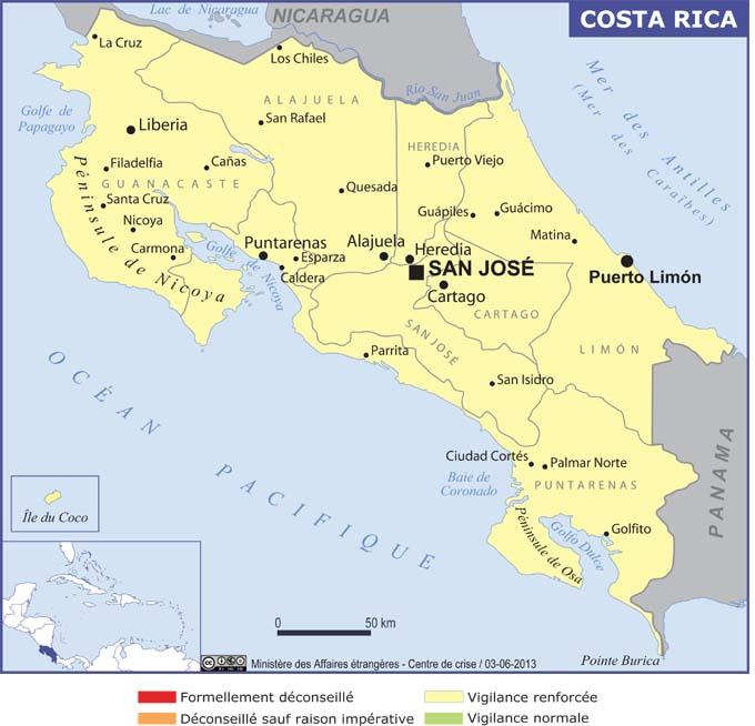 La carte du Costa Rica publiée par le MAE - DR