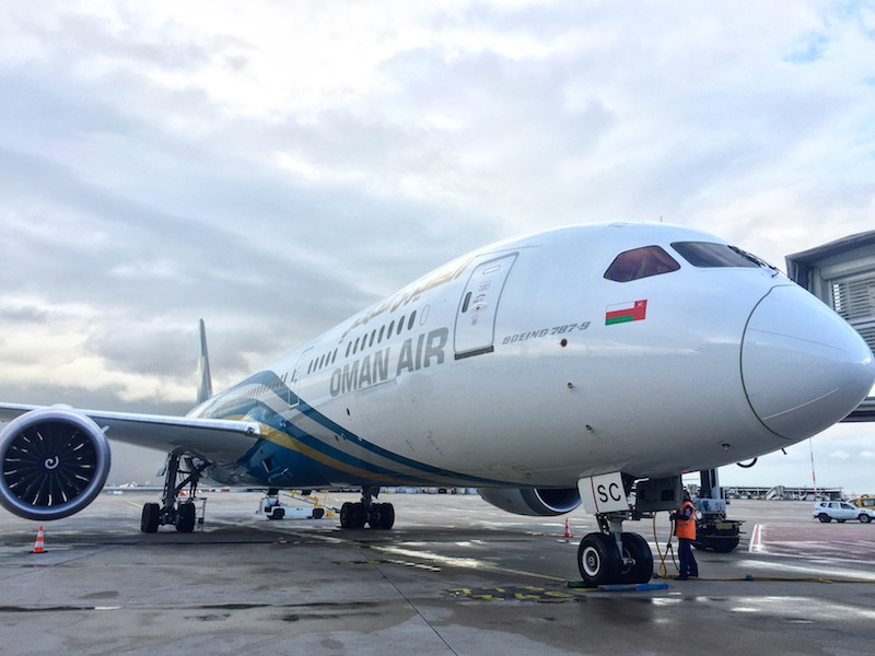 Le Boeing 787-9 Dreamliner d'Oman Air, a son arrivée à Roissy-CDG, mercredi 26 avril © DR PG Tourmag