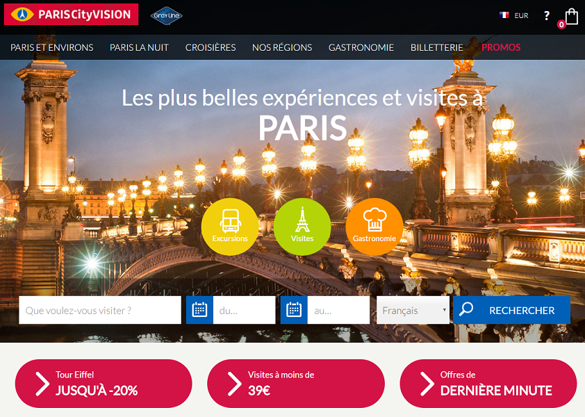 Le nouveau site Internet de ParisCityVision dispose d'une section dédiée aux voyageurs français - Capture d'écran