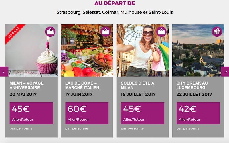 Moov'inbus propose des offres thématiques en autocar au départ de Strasbourg, Sélestat, Colmar, Mulhouse, Saint-Louis et Belfort - Capture écran