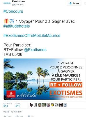 Exotismes lance un jeu concours sur Twitter