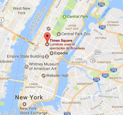 Time Square est un lieu très touristique au coeur de New York - DR : Google Maps