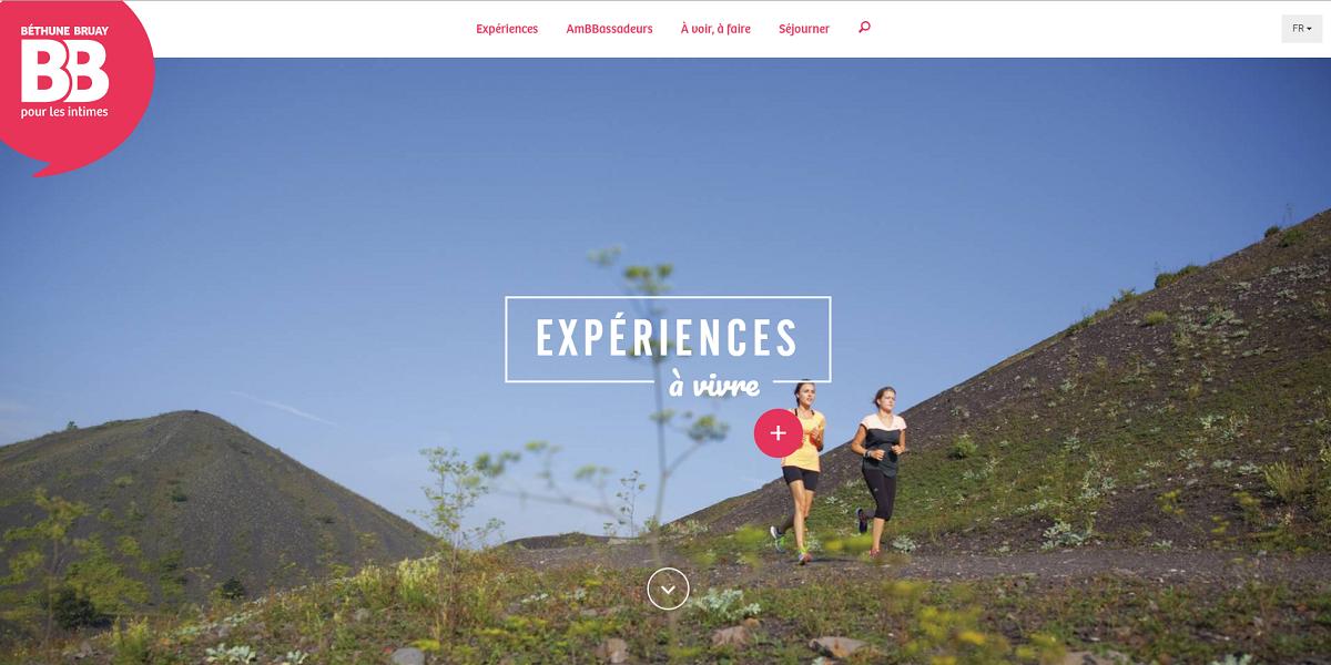 La nouvelle version du site Internet de l'Office de tourisme de Béthune-Bruay fait la part belle aux visuels - Capture d'écran