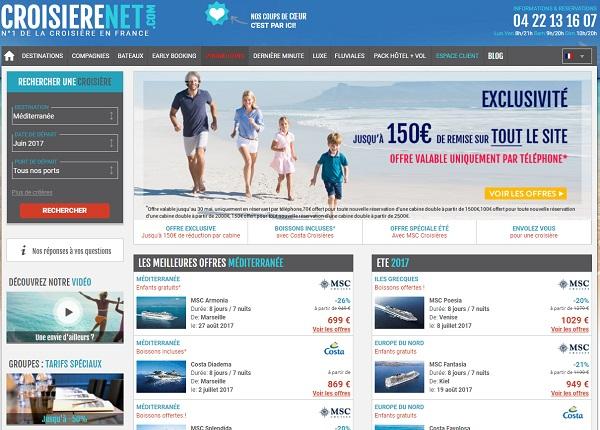 Le site Croisierenet.com appartient à QCNS Cruise - Capture écran