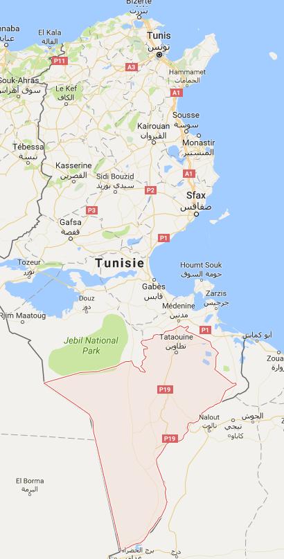 La situation sociale est tendue dans le gouvernorat de Tataouine, dans le sud de la Tunisie - DR : Google Maps
