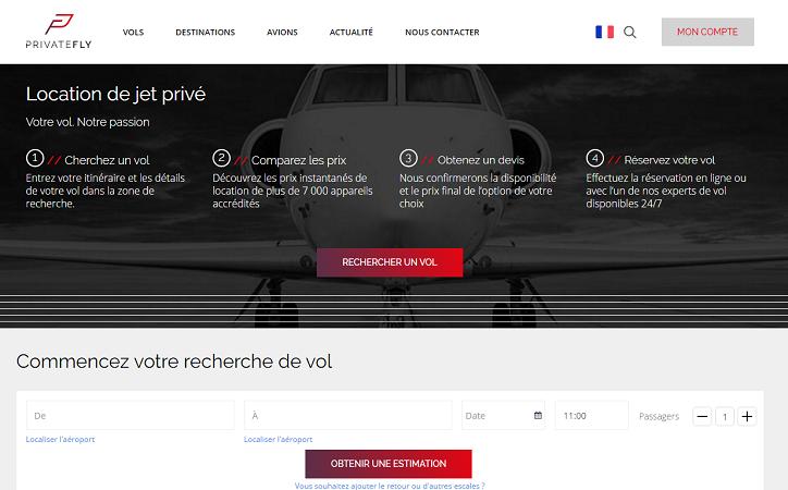 PrivateFly rénove son site Internet et présente un nouveau logo - Capture d'écran