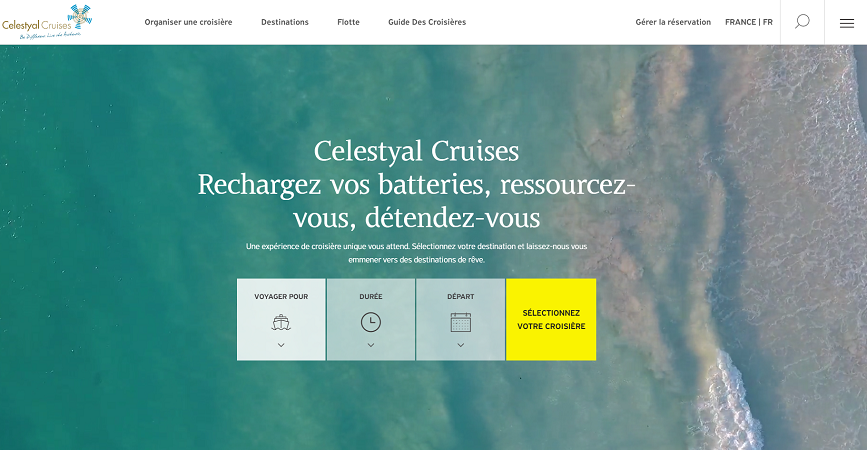 Capture d'écran du nouveau site Internet de Celestyal Cruises
