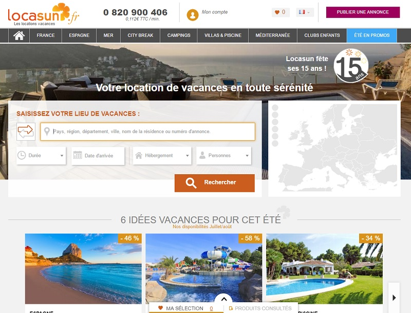 Le site B2C de Locasun qui propose près de 350 000 logements en Europe - DR