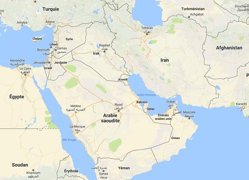 Qatar Airways pourrait voir son programme de vols perturbé si elle ne peut accéder à l'espace aérien de ses plus proches voisins suite à la fermeture de l'espace aérien de plusieurs pays du golfe à la compagnie qatari - Google MAP