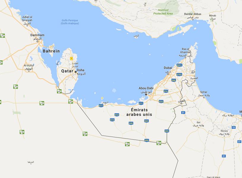 """""""plusieurs pays du Moyen-Orient viennent de rompre les relations diplomatiques avec le Qatar"""" - DR : Google Maps"""