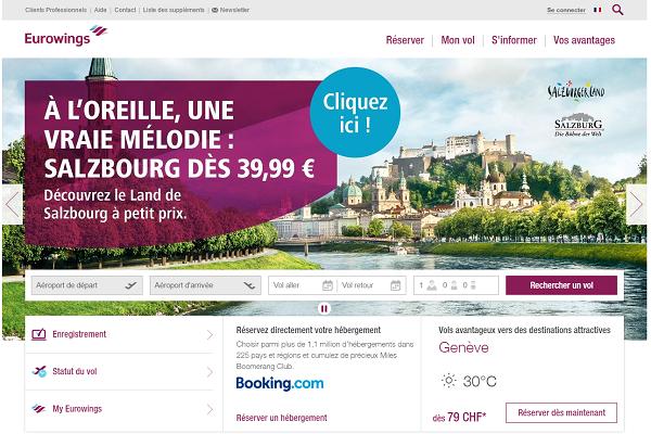 La navigation est l'affichage du nouveau site internet d'Eurowings sont adaptés aux visiteurs handicapés - Capture d'écran