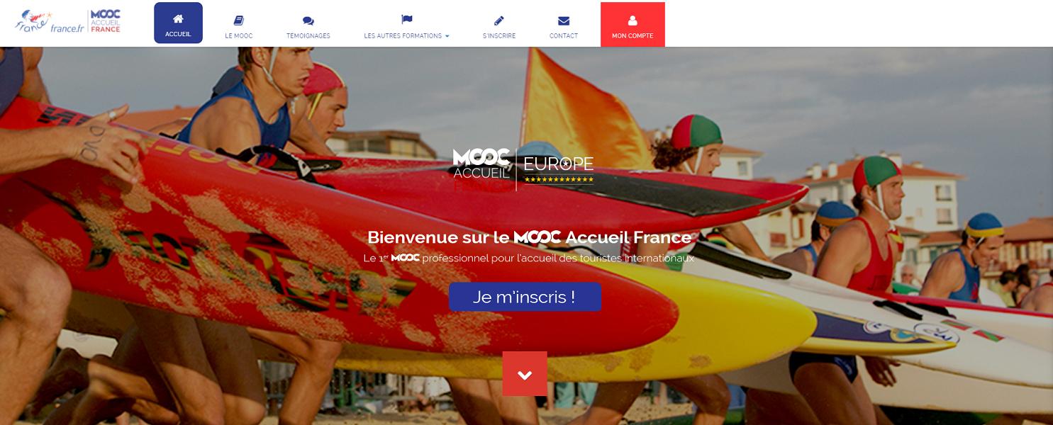 Capture d'écran de la page d'accueil du MOOC Accueil France d'Atout France