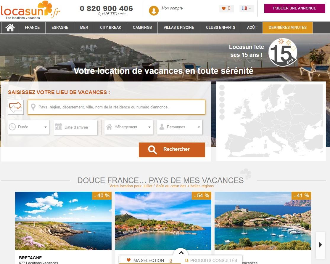 Le site Locasun, spécialiste de la location de vacances - DR