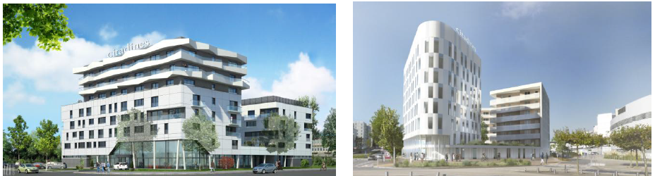 Les deux résidences franchisées de Citadines ouvriront à Strasbourg (à gauche) et à Nantes en 2019 - Photo : The Ascott Limited
