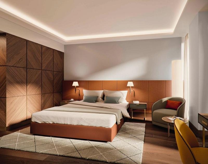 Une des chambres du nouvel hôtel Mövenpick Hotels & Resorts en Suisse à Bâle. - DR