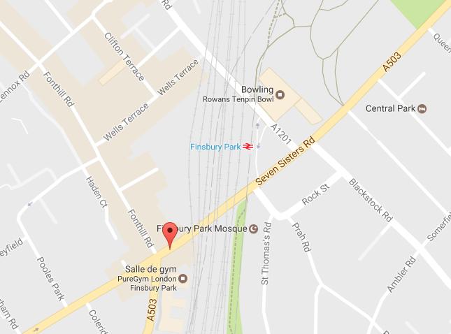 """L'""""attaque terroriste"""" s'est produite devant la mosquée de Finsbury Park, à Londres - DR : Google Maps"""