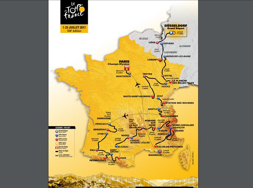Le parcours du Tour de France 2017 qui débute samedi 1er juillet 2017 à Düsseldorf, en Allemagne - DR : ASO