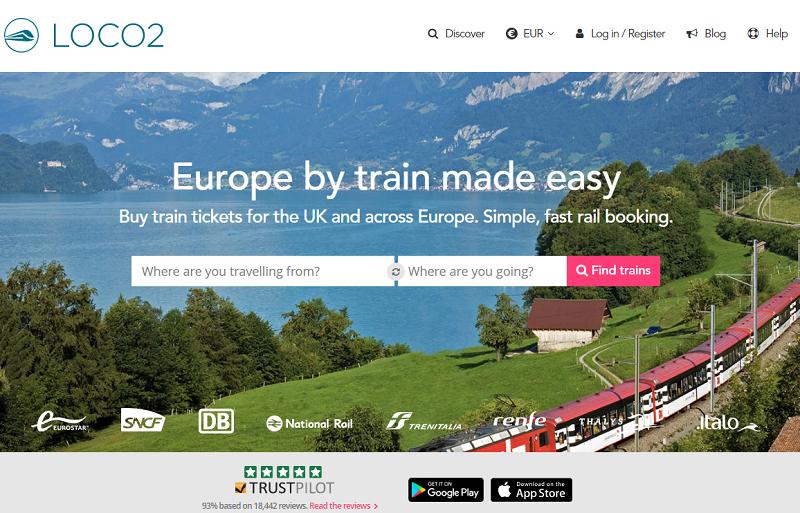 Le site Loco2, start-up anglaise de réservation en ligne de voyages en train au Royaume-Uni et en Europe - DR Capture écran