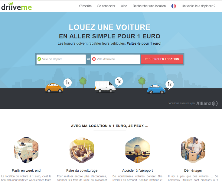 Capture d'écran du site Internet de DriiveMe