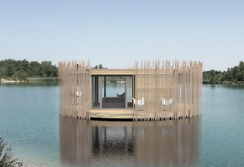 La commune de la Sorgues s'enrichit de cabanes flottantes dans la région de Châteauneuf du Pape DR: Cabanes Nature et Spa