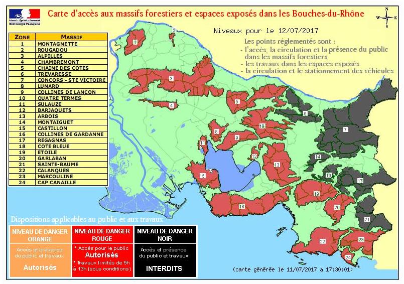 La carte d'accessibilité des massifs forestiers des Bouches-du-Rhône pour mercredi 12 juillet 2017 - DR : Préfecture des Bouches-du-Rhône