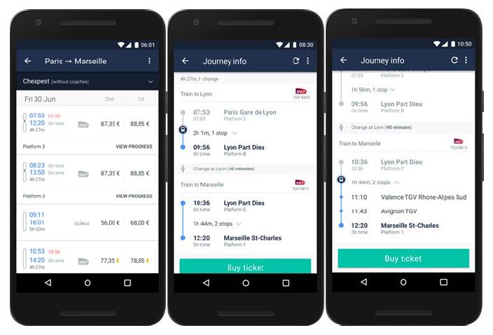 L'application mobile de TRainline intègre une nouvelle fonctionnalité de suivi des trajets en temps réel - DR : Trainline