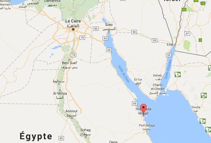 Les deux touristes se sont faites attaquées à l'arme blanche sur la plage de leur hôtel, au bord de la mer Rouge - DR : Google Maps