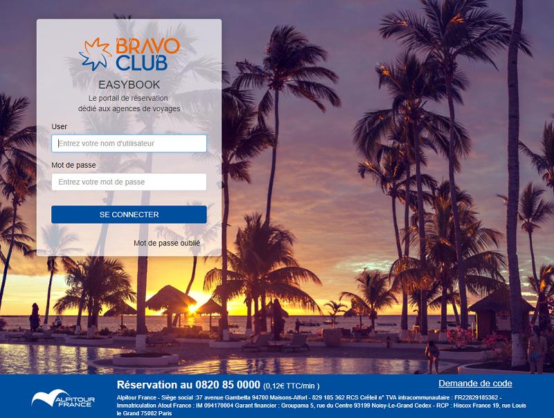 Le site pro d'Alpitour France : http://pro.bravoclub.com. Déjà 1600 points de ventes y sont connectés - Photo Capture écran