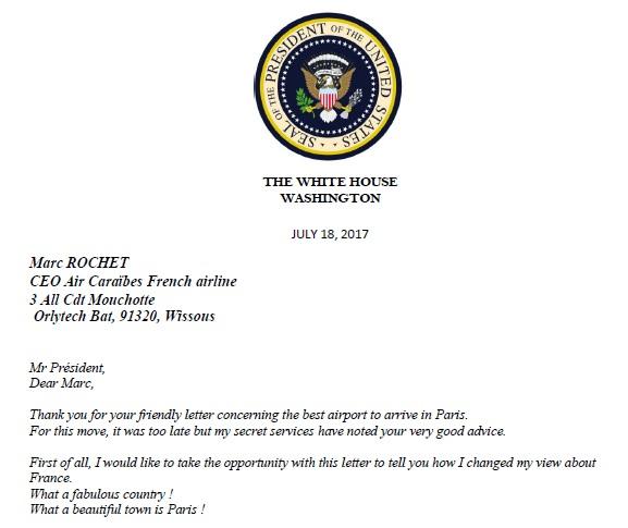 La lettre presque officielle de Donald Trump à Marc Rochet - DR