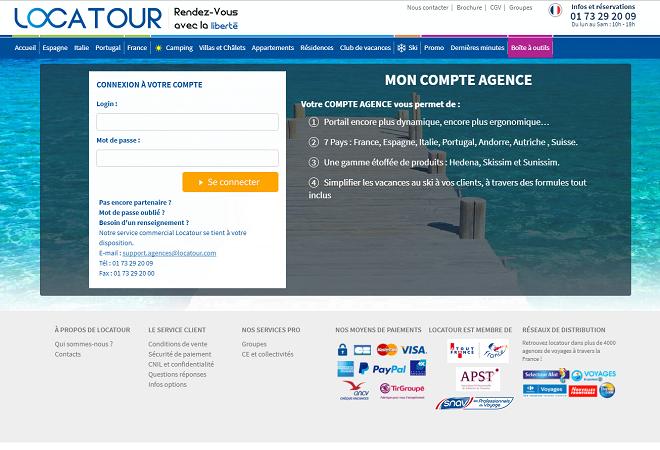 Capture d'écran du site B2B de Locatour