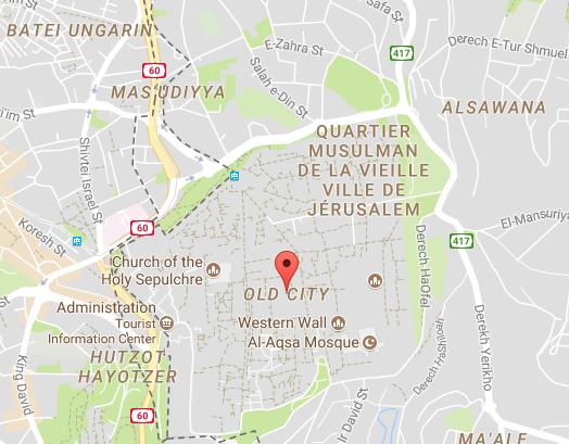 En raison des tensions à Jérusalem-Est, les accès à la Vieille ville de Jérusalem peuvent être fermés à tout moment par les autorités - DR : Google Maps