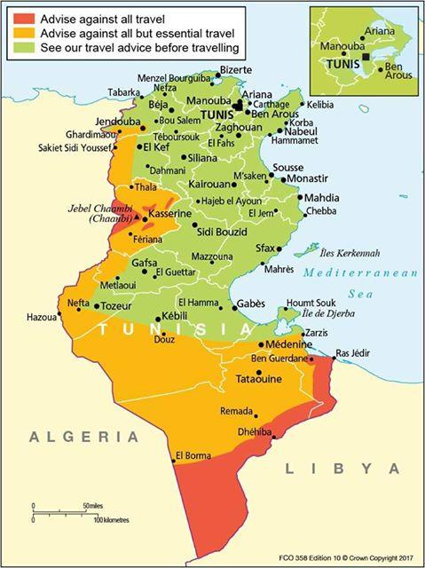 La carte des recommandations du Foreign Office britannique pour les voyages en Tunisie - DR : Foreign Office